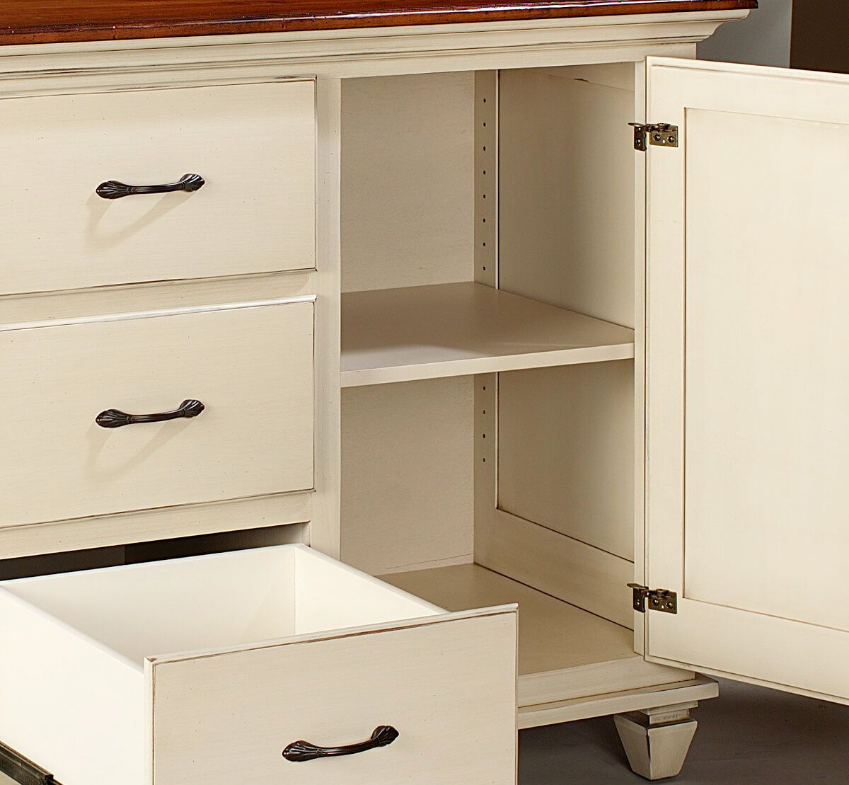 Dovetailed drawers and adjustable shelves in our buffet