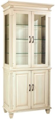 Castile China Display Hutch in Linen finish over Brown Maple