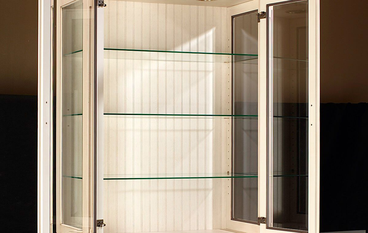 Adjustable glass shelves in Castile China Cabinet