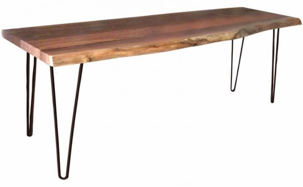 Kediri Live Edge Bench in Rustic Walnut