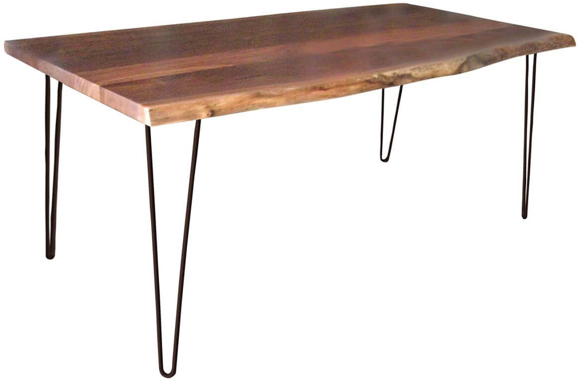 Kediri Live Edge Dining Table in Rustic Walnut