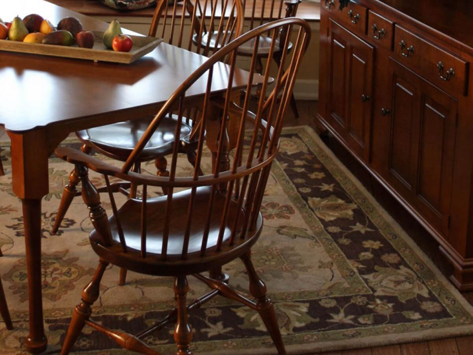 Early american dining room table windsor chairs and hutches