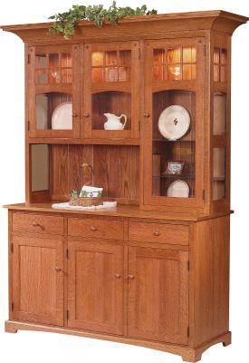 Solano 3-Door China Hutch shown in Quartersawn White Oak