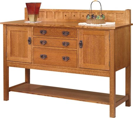 mission or craftsman style oak wood interior sideboard with ...