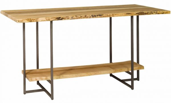 Travilah Live Edge Bar Table in Rustic Brown Maple