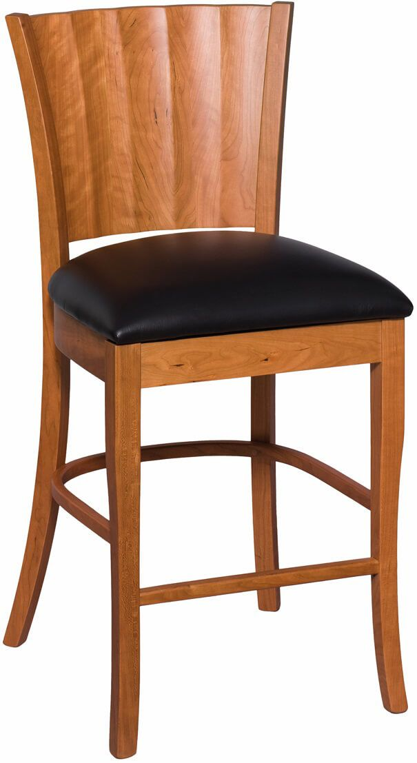 Waterbury Bar Chair in Cherry with black leather seat