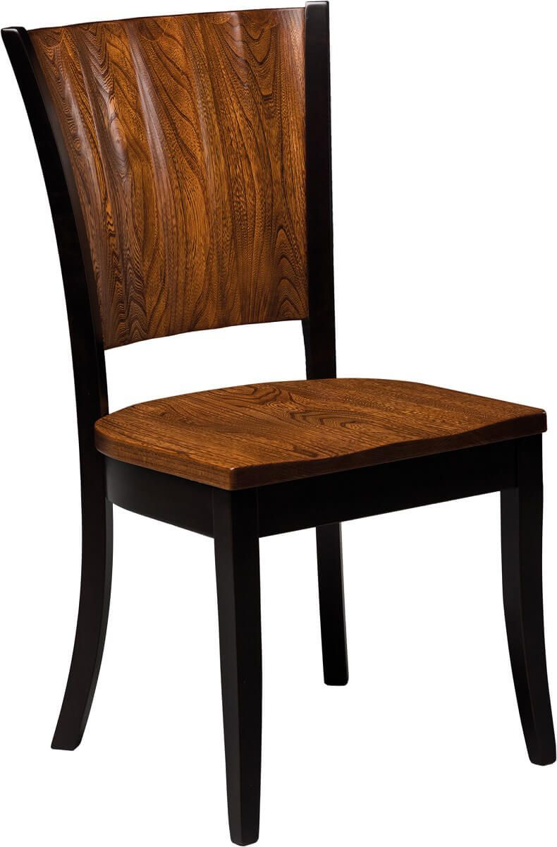 Waterbury side chair shown in Elm and Brown Maple