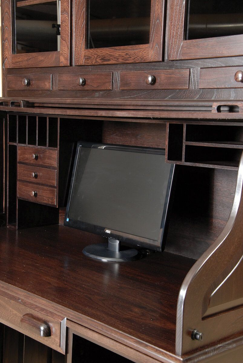Solid Wood Roll Top Desk with Hutch