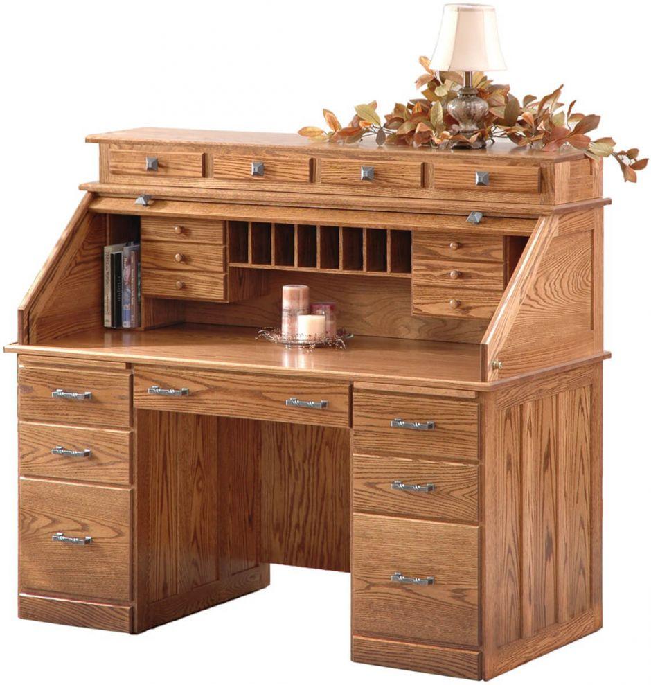 Winners Only Solid Oak Rolltop Computer Desk Mylan Roll