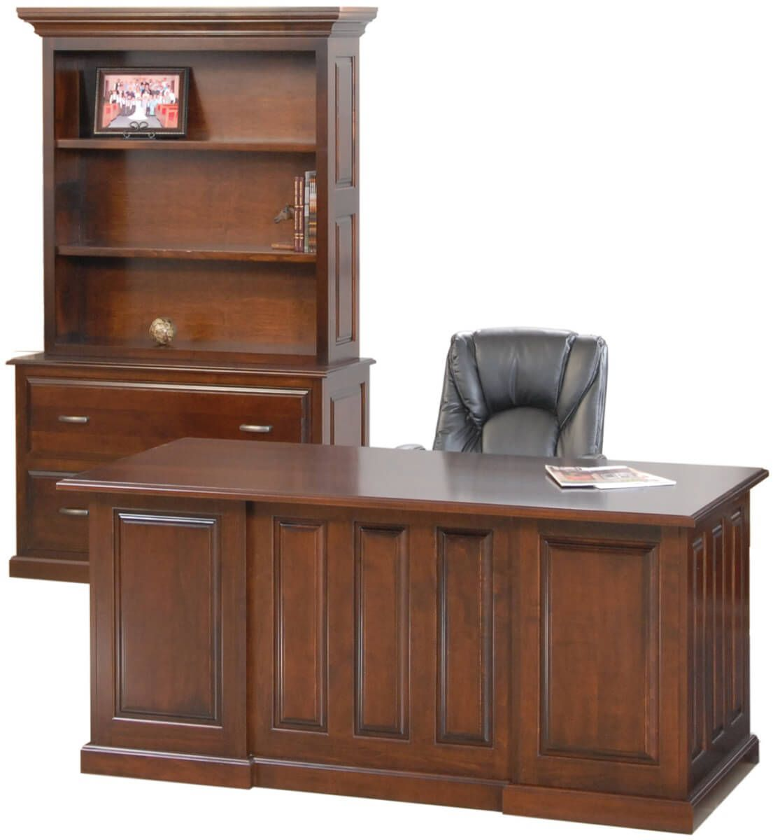 Executive Desk and Wallace File Bookcase