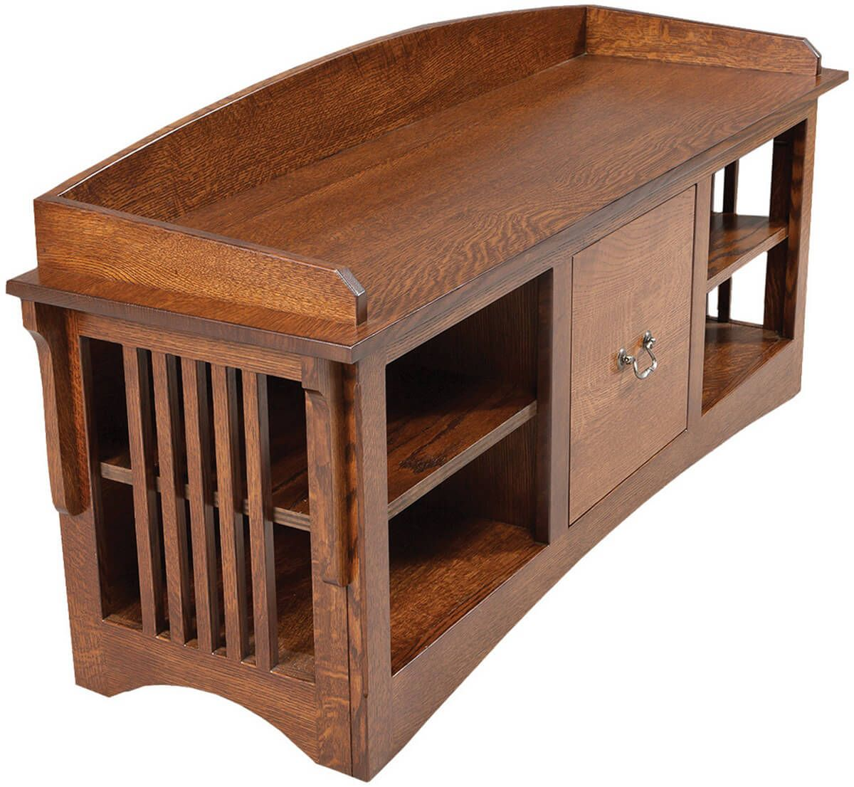Bungalow Mission Bench with Shelves