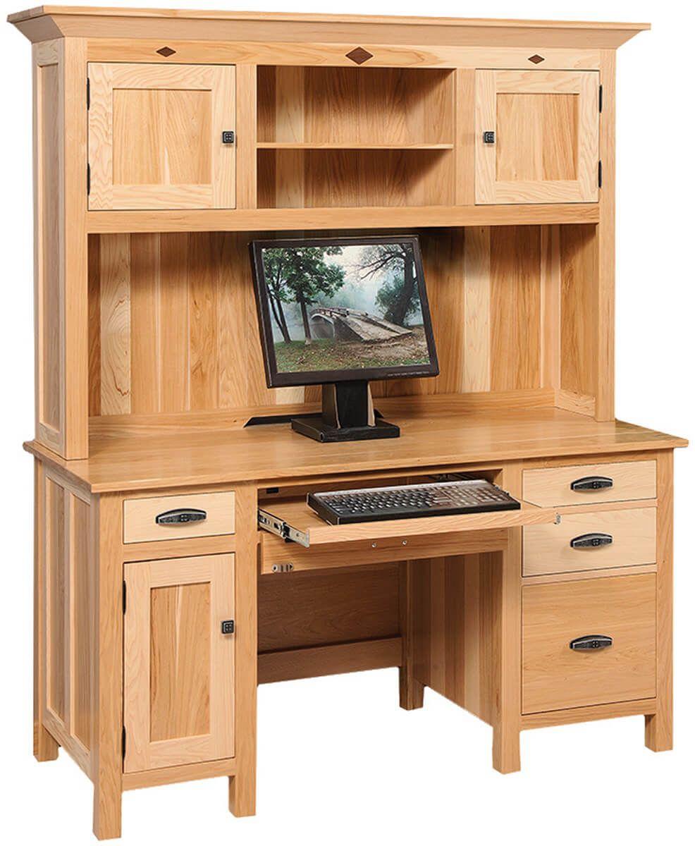 Leland Hickory Hutch Top Desk