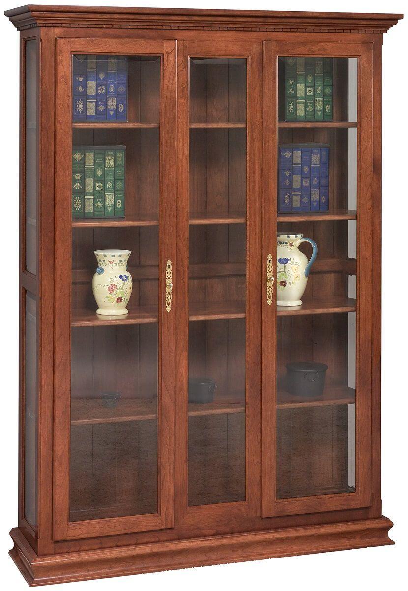 Radella Glass Door Bookcase in Cherry