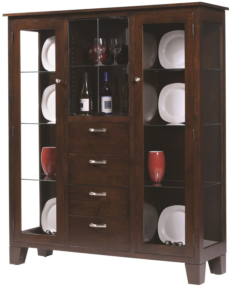 Cantoni Modern Display Case in Brown Maple