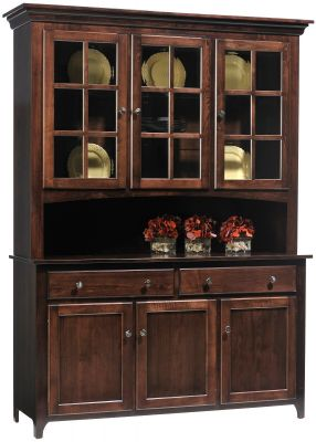 Elisee Shaker Buffet with Hutch in Brown Maple