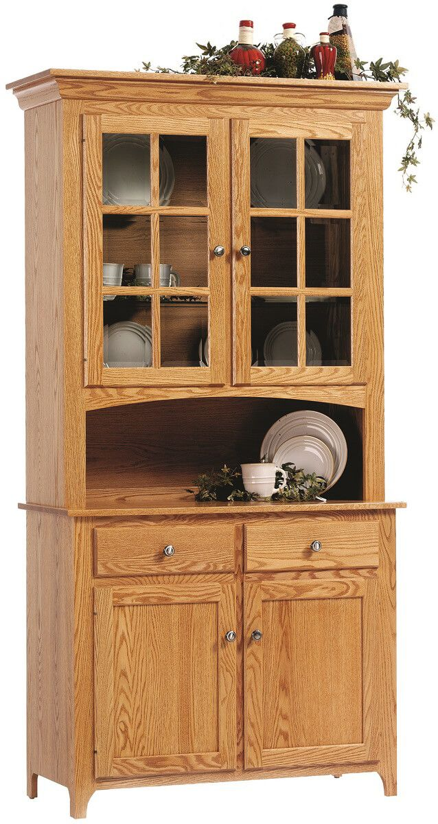 Elisee Shaker China Hutch in Oak