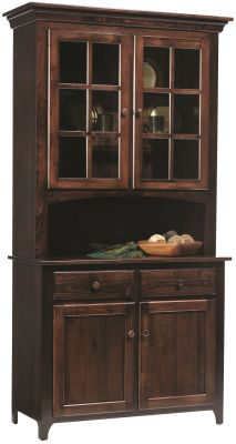 Elisee Shaker China Hutch in Brown Maple