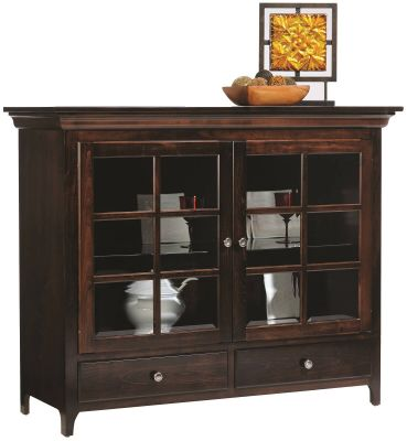 Elisee Shaker China Pantry in Brown Maple