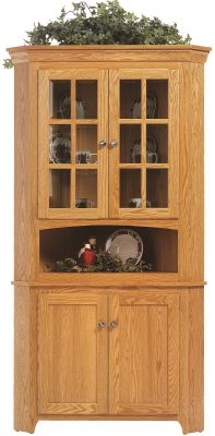 Elisee Shaker Corner Hutch in Oak