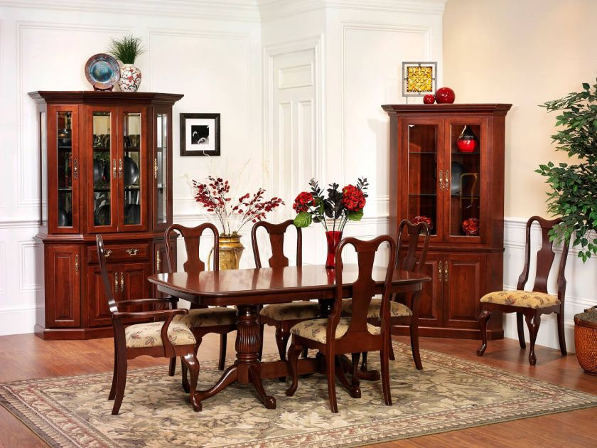 Evendale court cherry dining set countryside amish furniture for Queen anne dining room