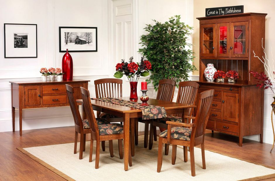 Mission Expanding Dining Table Hutch Countryside Amish Furniture