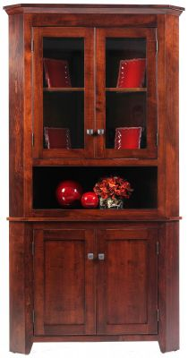 Monmouth Shaker Corner Hutch in Brown Maple