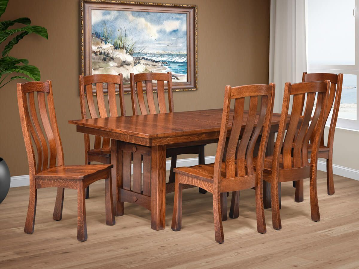 Wood Canyons Trestle Table Set