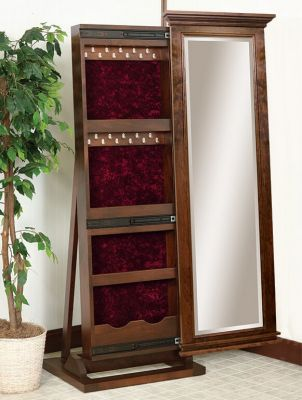 Emilia Leaner Jewelry Armoire Mirror Countryside Amish Furniture