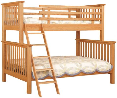 Oak Twin over Full Bunk Beds