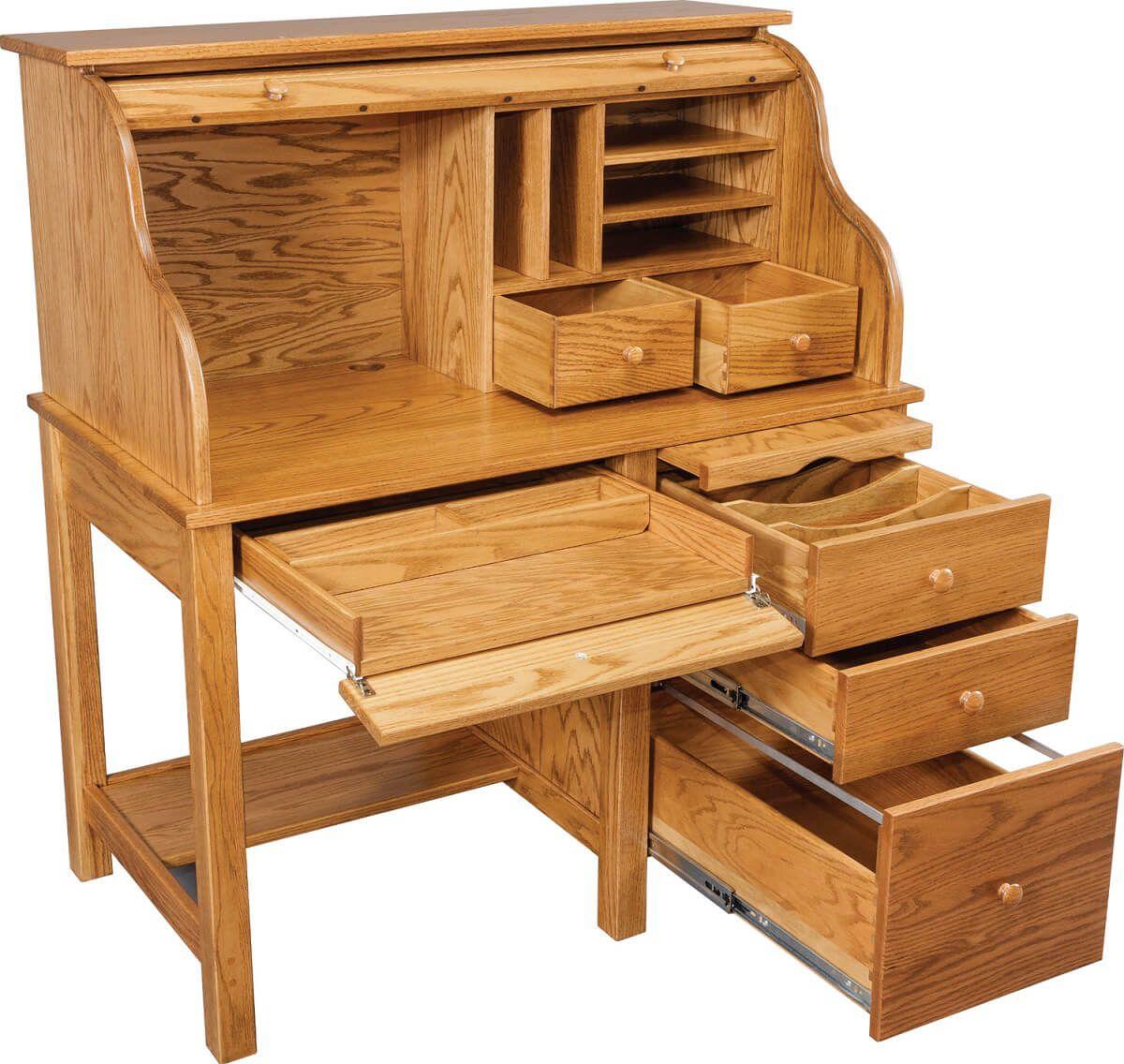 Solid Oak Roll Top Desk, opened