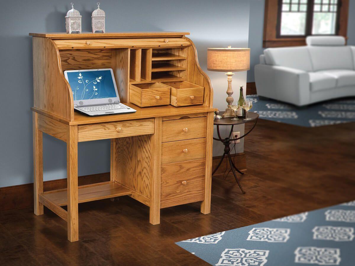 Composer's Roll Top Desk in Oak