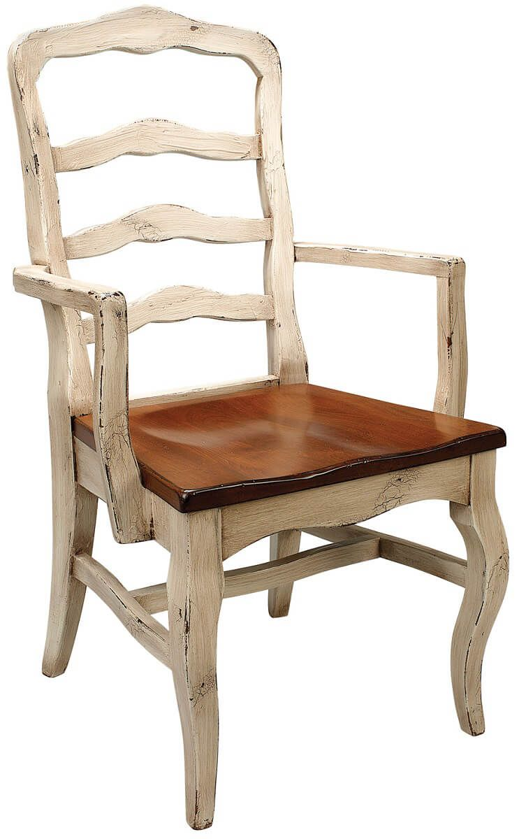 Two-toned dining chair with wood seat