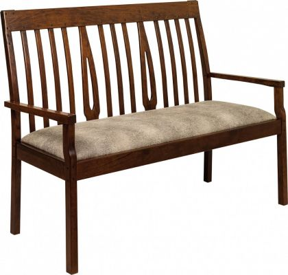 Texan Bench shown in Oak with Devonshire stain and upholstered.