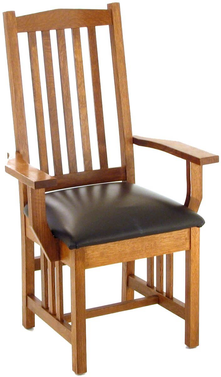 Carbondale Mission Arm Chair with leather seat
