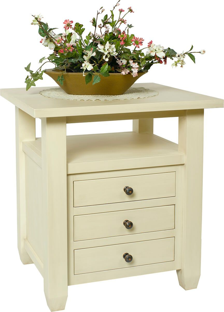 Hensley End Table painted in Almond Ivory