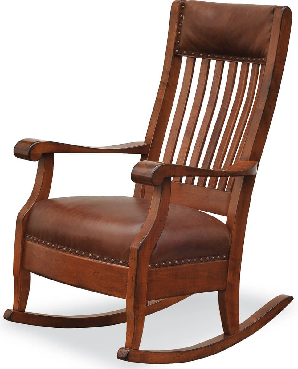 Augustine Rocker with Leather Upholstery