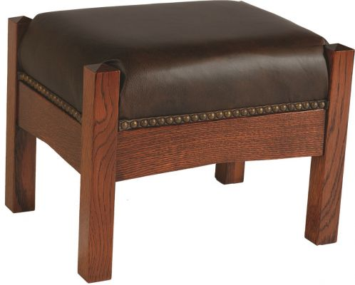 Benjamin Foot Stool with leather upholstery