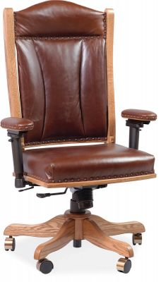 Leather office chair with adjustable arms