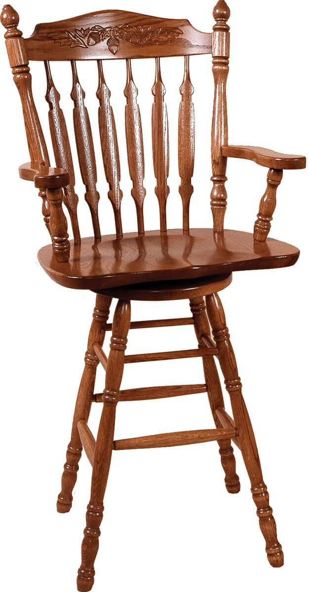 Griffin Swivel Amish Barstool in Oak