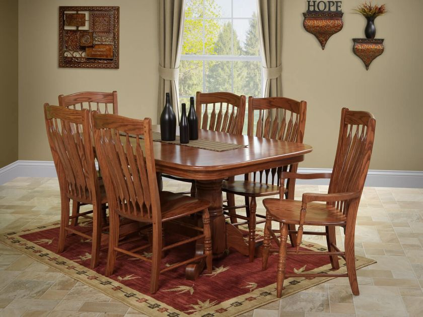 Heywood Solid Oak Dining Set Countryside Amish Furniture