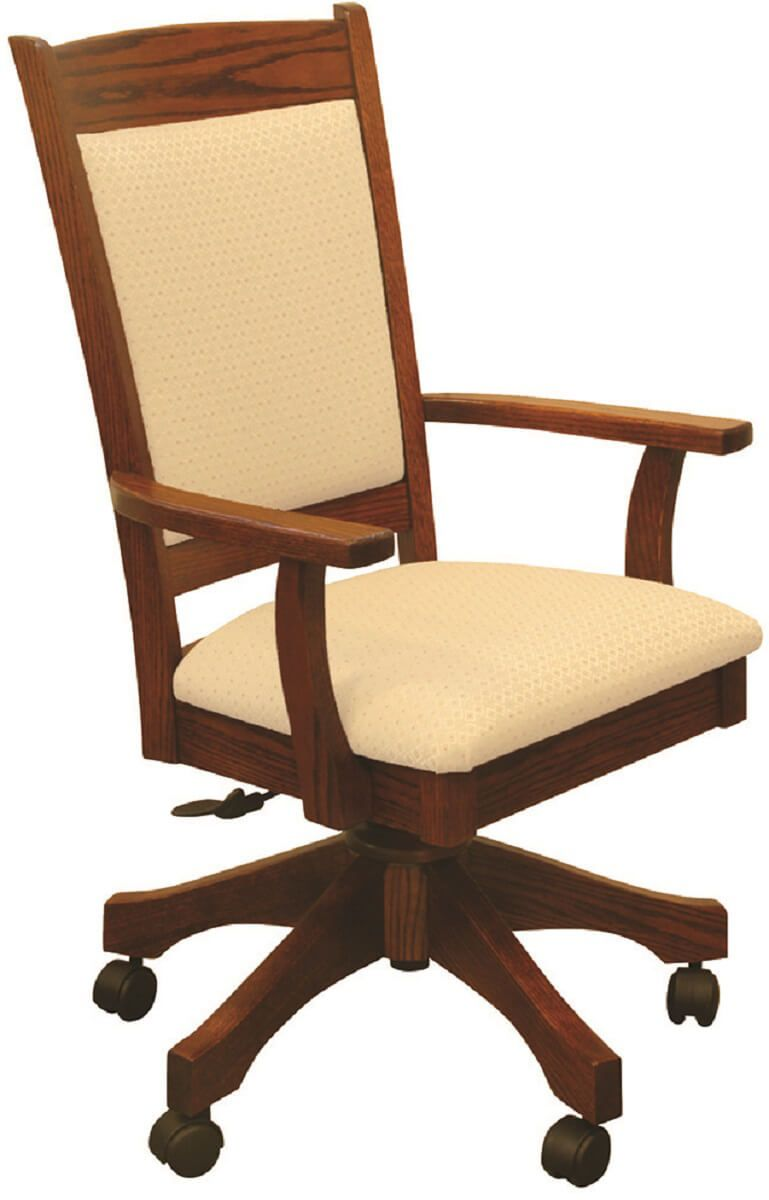 Upholstered Oak Desk Chair in Spring Twig stain