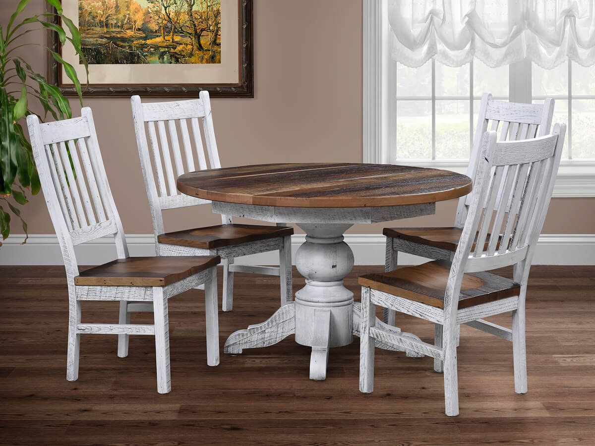 Shown with Barnwood Pedestal Table
