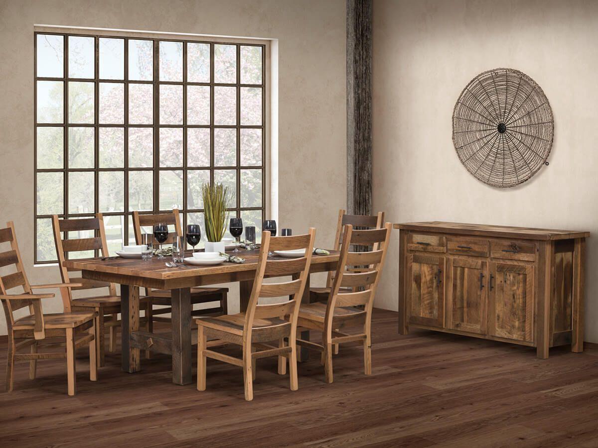 Shown with Juneau Reclaimed Trestle Table