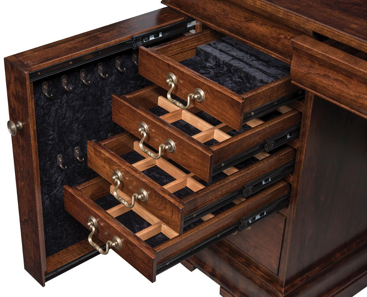 Pullout Jewelry Drawers in Left Pedestal