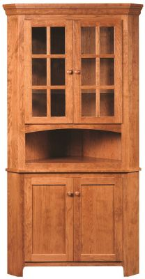 Elisee Shaker Corner Hutch in Cherry