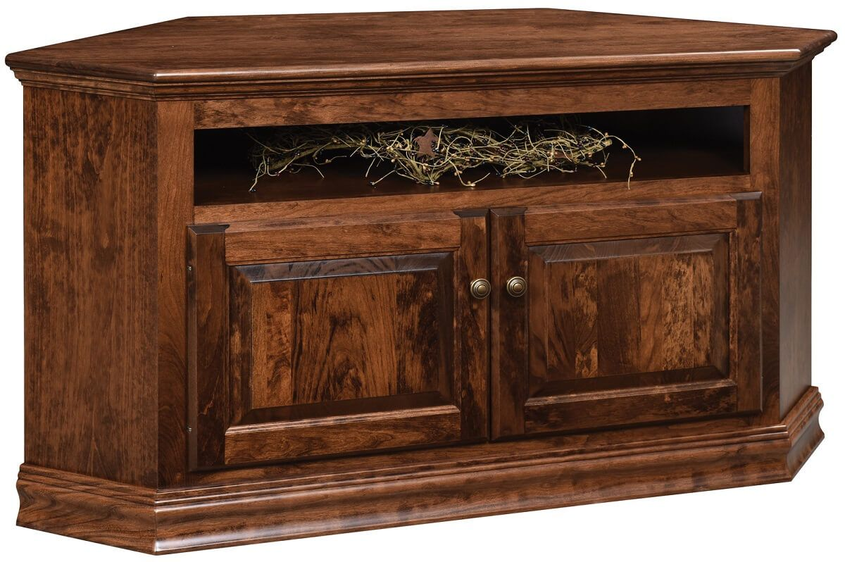 Traditional Hardwood Corner Media Cabinet