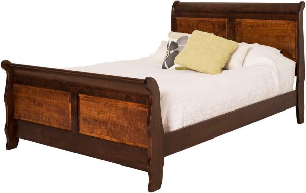Two Tone Sleigh Bed with Tiger Maple