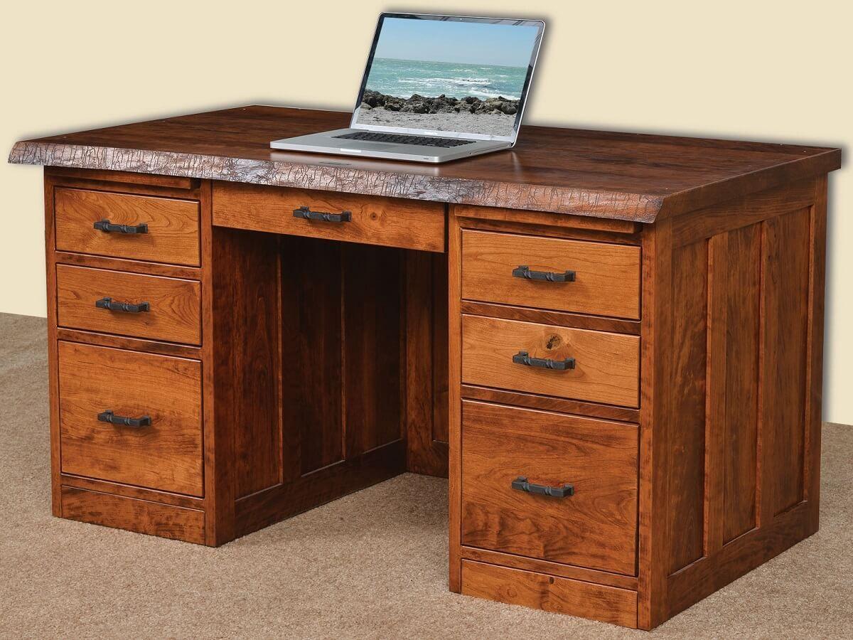 56 Inch Desk in Rustic Cherry