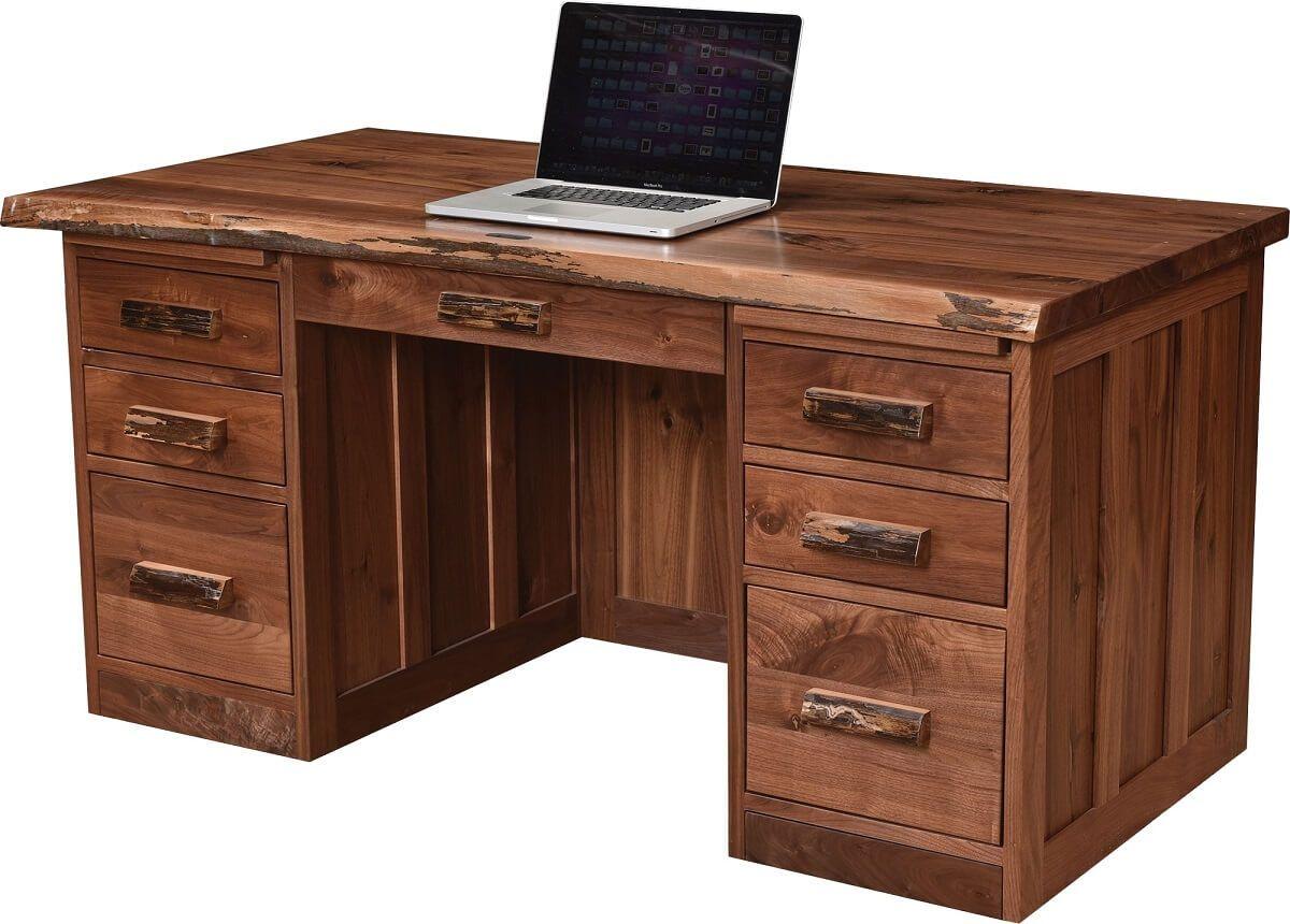 62 Inch Desk in Rustic Walnut