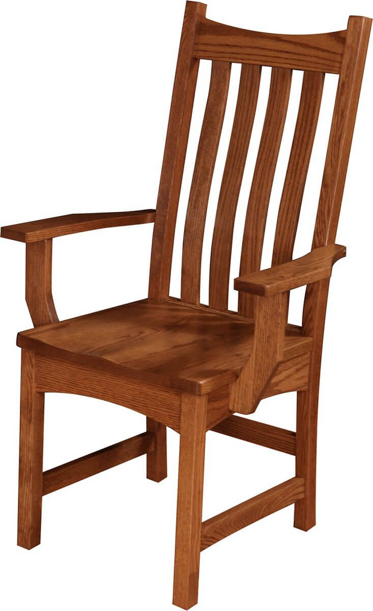 Solid wood arm dining chair